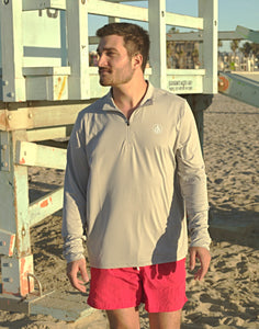 Coastal Waters Men's 1/4 Zip Sun Protection Pullover - Cool Grey
