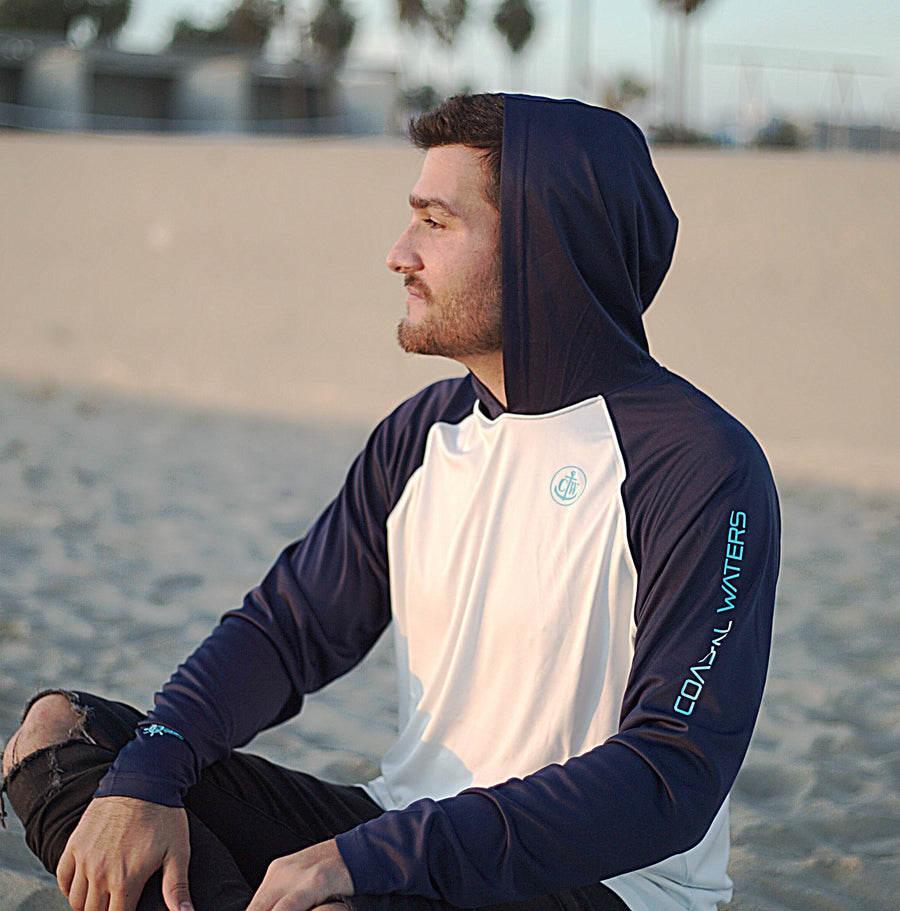 Coastal Waters Men's Hooded Raglan Long Sleeve Sun Protection-UPF 50 - Navy & White