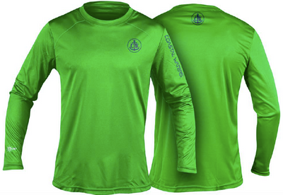 Coastal Waters Crew Neck UPF 50 Sun Protection Tee- Flash Green