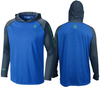 Coastal Waters Men's Hooded Raglan Long Sleeve Sun Protection-UPF 50 - Cobalt & Navy