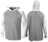 Coastal Waters Men's Hooded Raglan Long Sleeve Sun Protection-UPF 50 - Gray & White