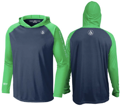 Coastal Waters Men's Hooded Raglan Long Sleeve Sun Protection-UPF 50 - Navy & Flash Green