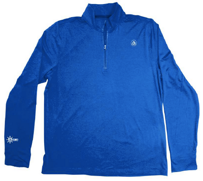 Coastal Waters Men's 1/4 Zip Sun Protection Pullover - Cobalt