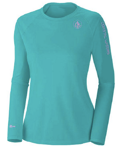 Coastal Waters Crew Neck Women's UPF 50 Sun Protection Tee- Turquoise