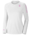 Coastal Waters Crew Neck Women's UPF 50 Sun Protection Tee- White
