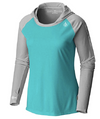 Coastal Waters Women's Hooded Raglan Long Sleeve Sun Protection-UPF 50 - Turquoise & Gray