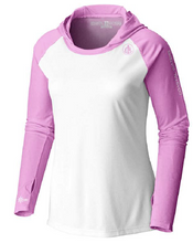 Load image into Gallery viewer, Coastal Waters Women's Hooded Raglan Long Sleeve Sun Protection-UPF 50 - White & Pink