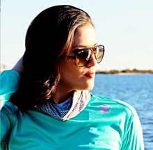 Load image into Gallery viewer, Coastal Waters Crew Neck Women's UPF 50 Sun Protection Tee- Turquoise