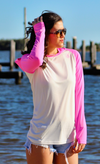Coastal Waters Women's Hooded Raglan Long Sleeve Sun Protection-UPF 50 - White & Pink
