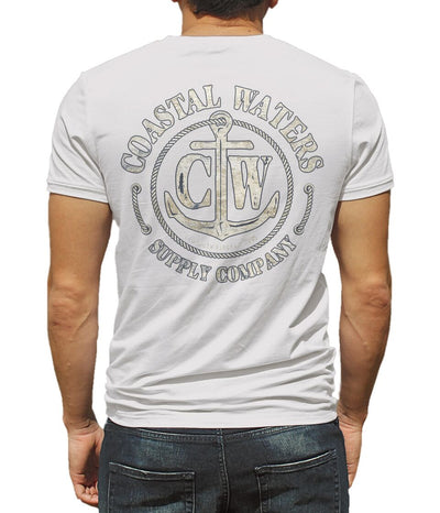Anchor Distressed Pocket Tee - White