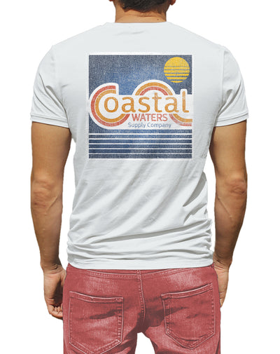 Vintage Coastal Waters Pocket Tee White