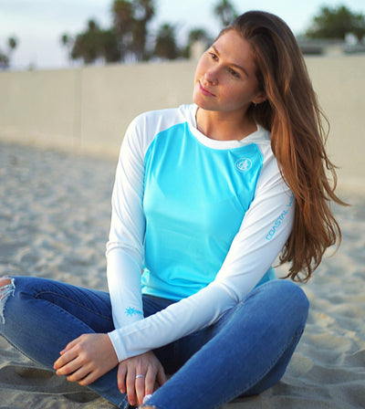 Coastal Waters Women's Hooded Raglan Long Sleeve Sun Protection-UPF 50 - Sky Blue & White