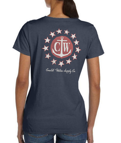 Old Glory Coastal Waters Pocket Tee Navy