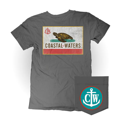 Coastal-fornia Coastal Waters Pocket Tee Charcoal