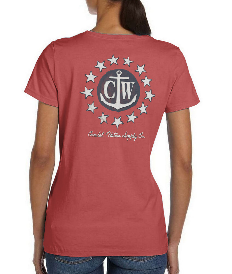 Old Glory Coastal Waters Pocket Tee Faded Red