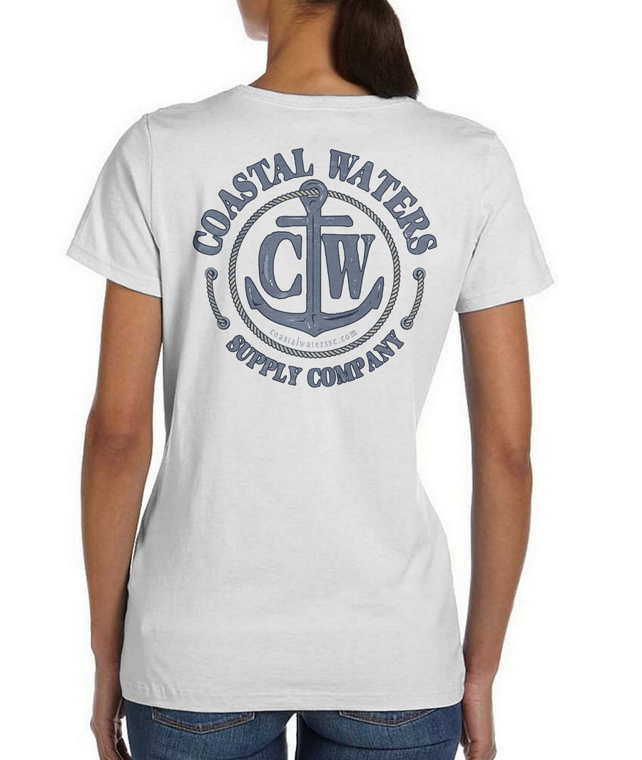Classic Anchor Coastal Waters Pocket Tee White