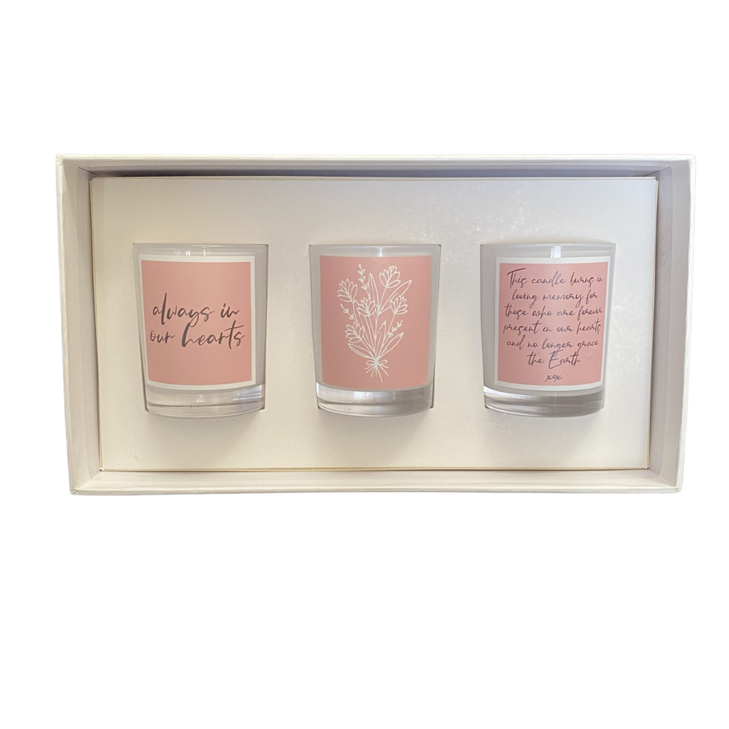 White Trio In Our Hearts Sympathy Candle Pack
