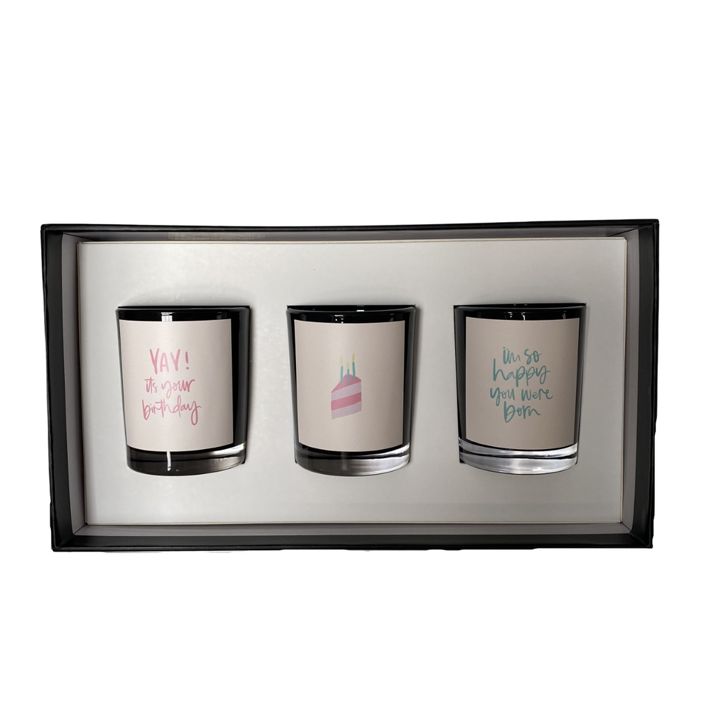 Black Birthday Soy Candle Trio