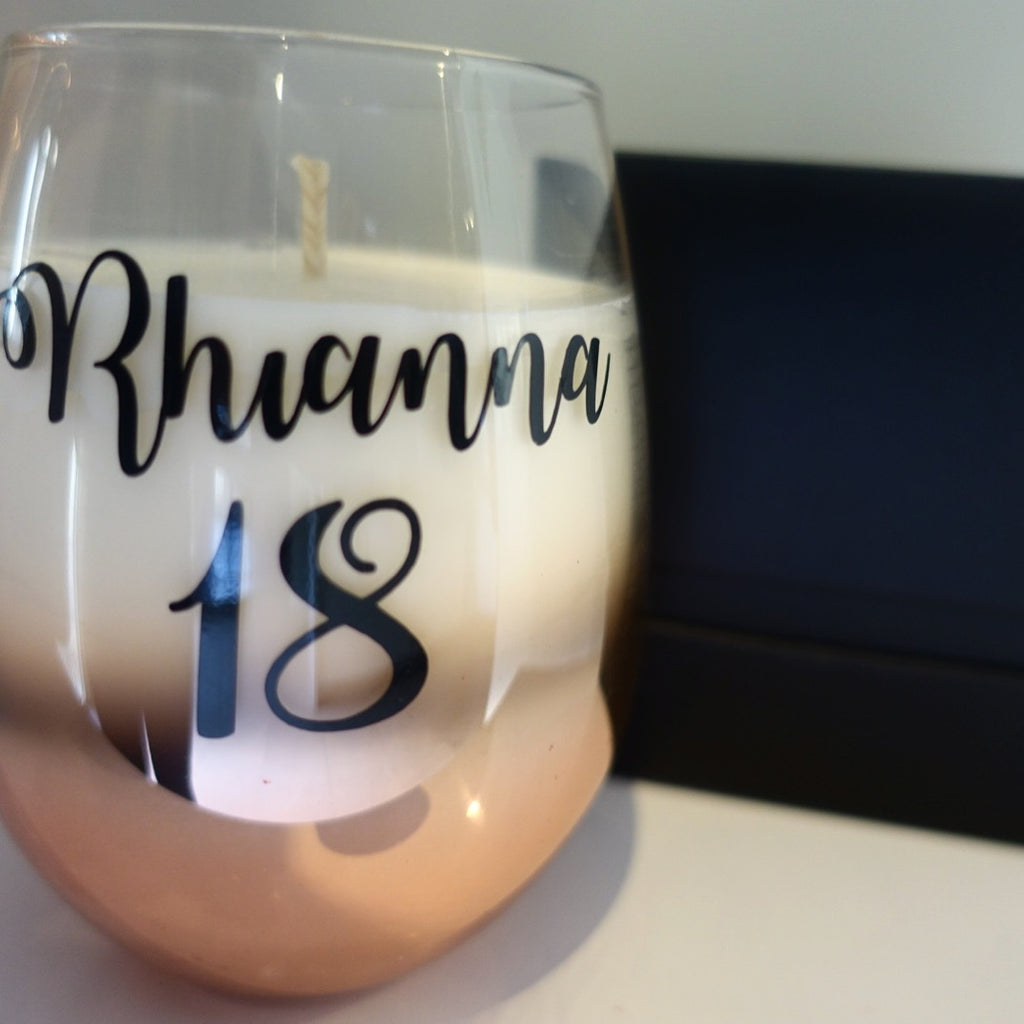 Rose Gold Personalised Renee Candle Jar