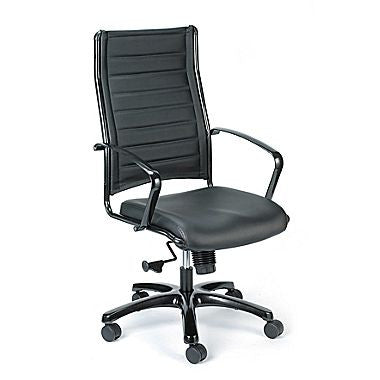 Eurotech Europa Titanium High Back  Leather Executive Office Chair LE111TNM-BLKL