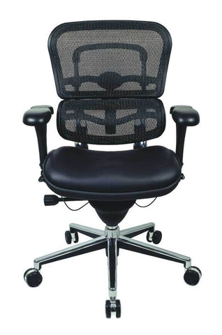 Eurotech Ergohuman Leather Seat and Mid Mesh Back Office Chair LEM6ERGLO