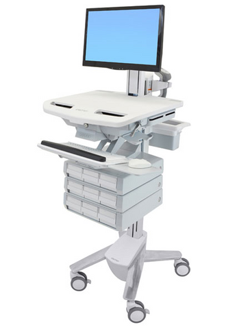 Ergotron StyleView Cart with LCD Pivot 9 Drawers SV43-1390-0