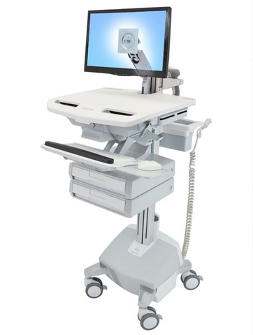 Ergotron StyleView Cart with LCD Arm LiFe Powered 2 Drawers SV44-1222-1