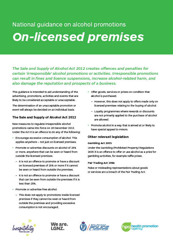 National Guidance on Alcohol Promotions - On-licensed premises