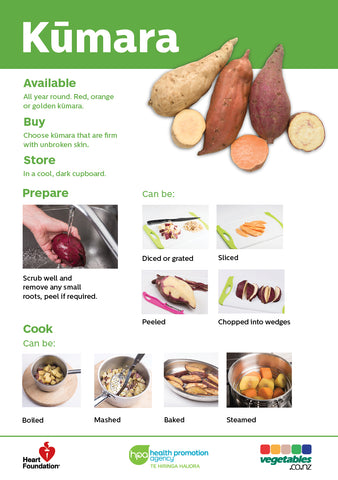Easy meals with vegetables: Kūmara (pads) A5 Size