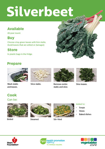 Easy meals with vegetables: Silverbeet (pads) A5 Size