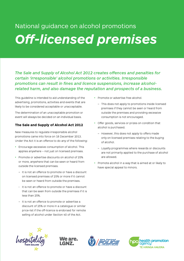 National Guidance on Alcohol Promotions - Off-licensed premises