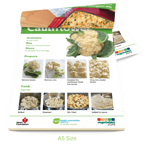 Easy meals with vegetables: Cauliflower (pads) A5 Size