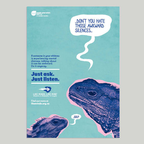 "Just Ask. Just listen. Set of 4x A3 Posters  (""If someone in your whānau..."")"
