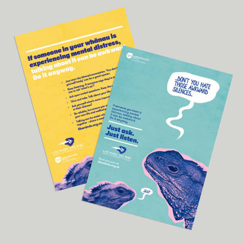"Just Ask. Just listen. Set of 4x A5 Flyers (""If someone in your whānau..."")"
