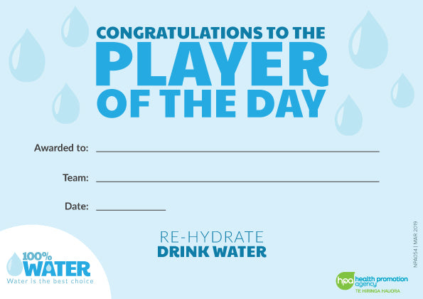 100% Water Player of the Day Certificates (A5 pads)