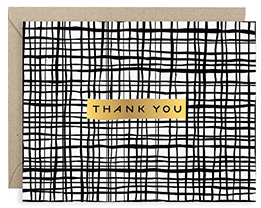 Black Crossed Lines Foil A2 Thank You