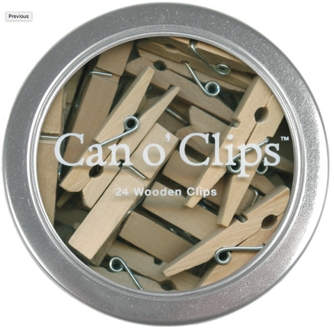 Mini Wooden Clips In Tin