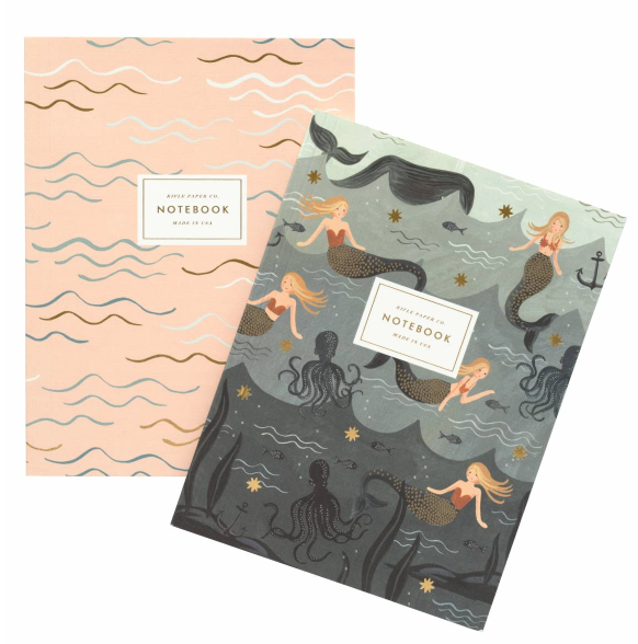 MERMAID Notebook SET OF TWO WITH GOLD ACCENTS
