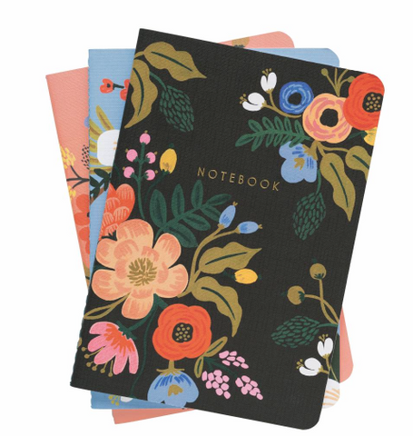 LIVELY FLORAL SET OF THREE STITCHED NOTEBOOKS