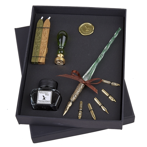 Glass Pen, Ink & Wax Seal Set - Green