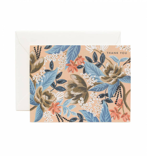 Boxed Set of Blue Floral Thank You Card Set