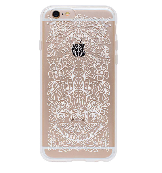CLEAR FLORAL LACE PROTECTIVE IPHONE COVER