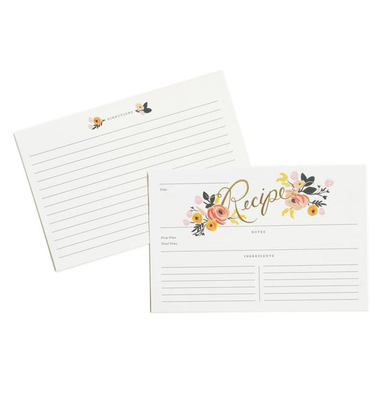 PEONY PACKAGE OF 12 ILLUSTRATED RECIPE CARDS