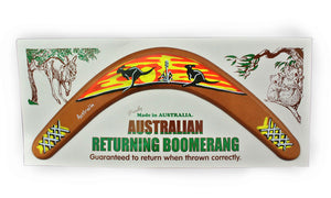 Carded Australian Made Returning Boomerang - Kangaroo Sunset 12""