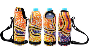 Bottle Coolers (600ml) - Dreaming Collection Snakes Dreaming - By Valma Nakamarra White