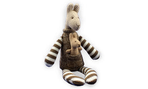 Soft & Cuddly Kangaroo & Baby Brown Joey - Brown & White Stripes - Knitted Toy