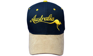 RooWho Australiana Caps - Navy & Tan