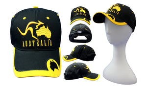 RooWho Australiana Caps - Australia Map Kangaroo Black & Gold