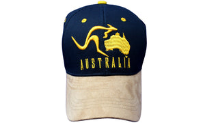 RooWho Australiana Caps - Australia Map Kangaroo Navy & Tan