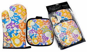Oven Mitt and Pot Holder Set - Water Dreaming